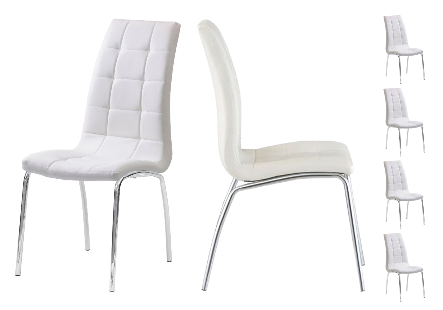 Lot 6 chaises chromé blanc DEA.1
