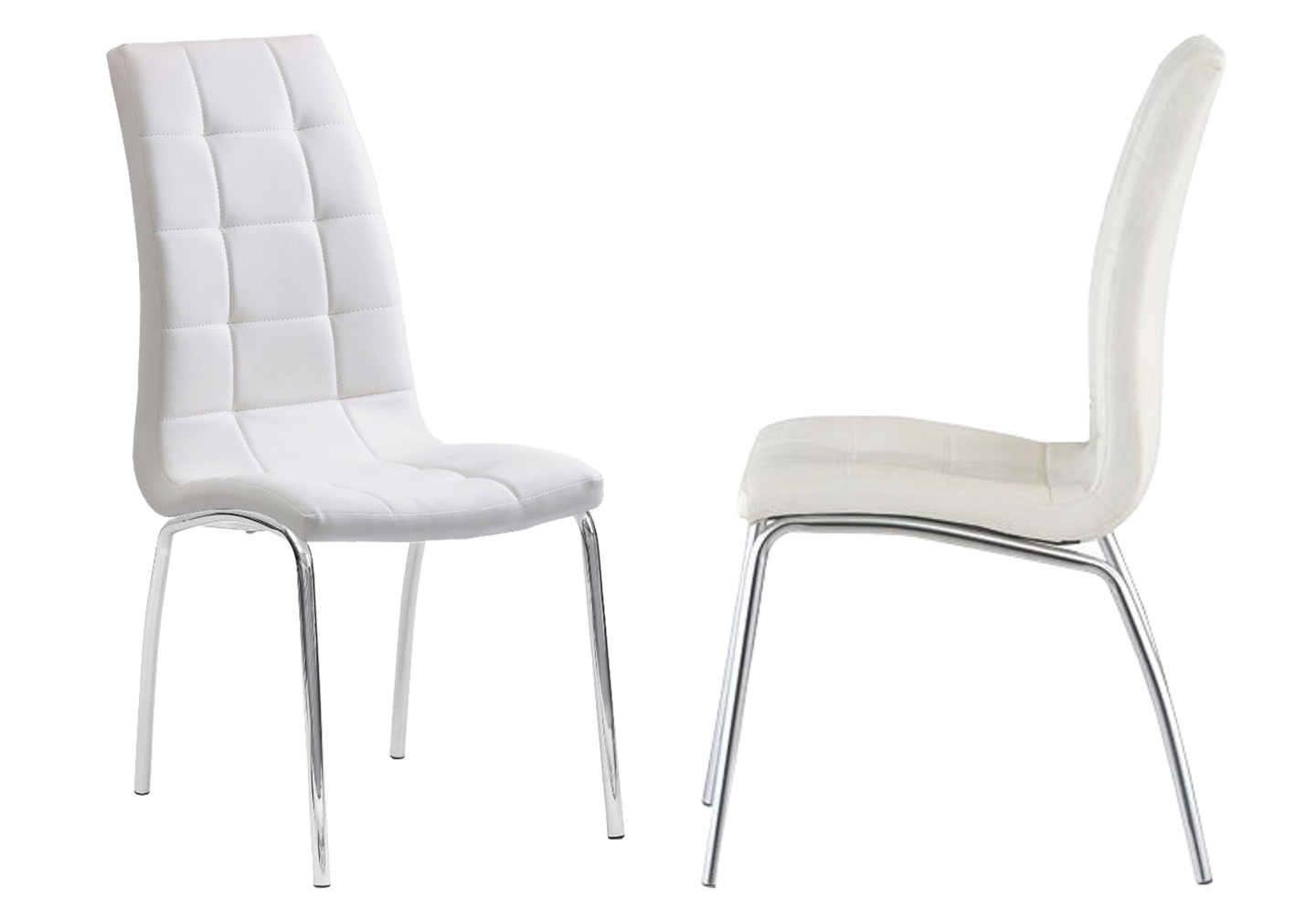 Lot 6 chaises chromé blanc DEA