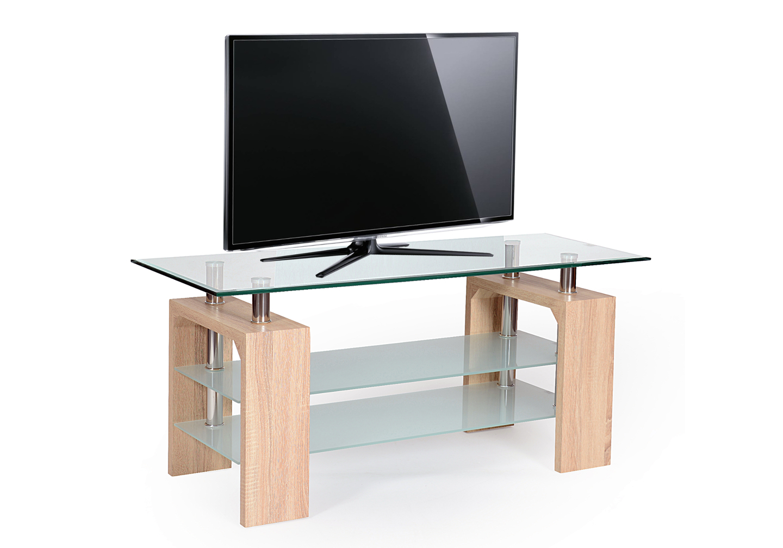 Meuble tv chêne verre trempé TOE-c2
