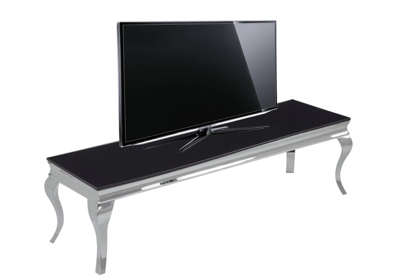 Meuble tv chromé verre noir NEO.3