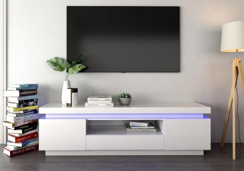 Meuble tv laqué blanc LED OPRA.1