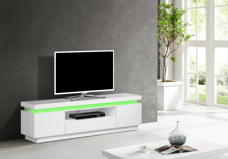 Meuble Tv laqué blanc LED OPRA.3