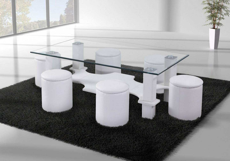 Table basse 6 poufs blanc CORA.1