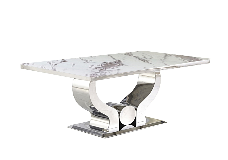 Table basse chromé marbre blanc NEA