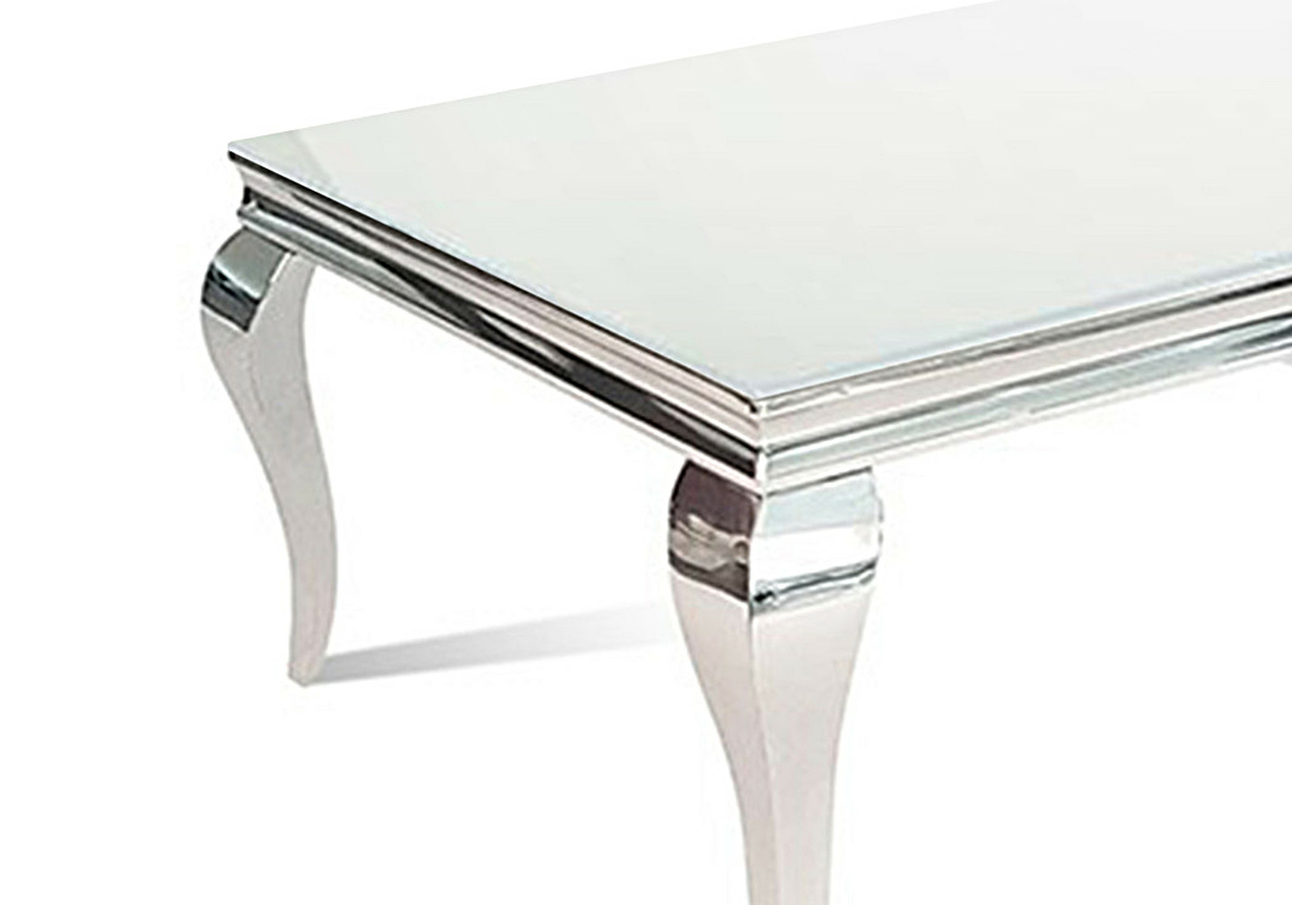 Table basse chromé verre blanc NEO-1.1