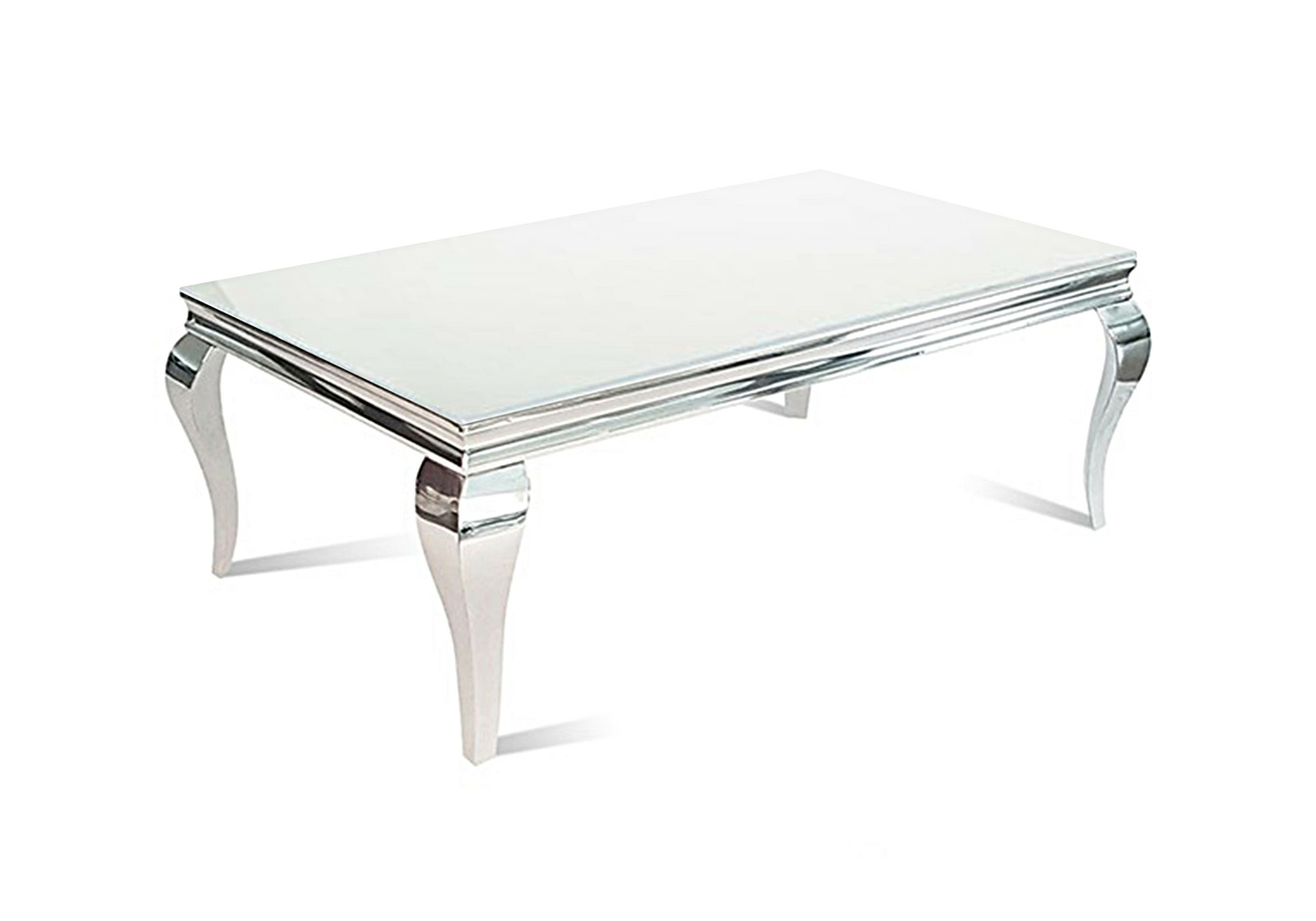 Table basse chromé verre blanc NEO-1