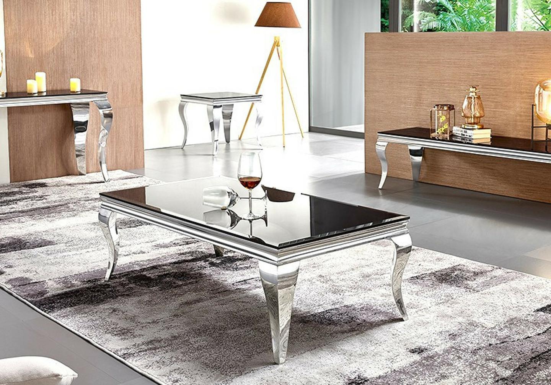 Table basse chromé verre noir NEO.1