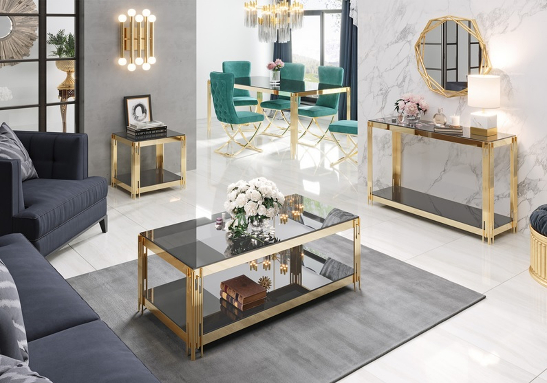 Table basse design doré noir ÈVE.4