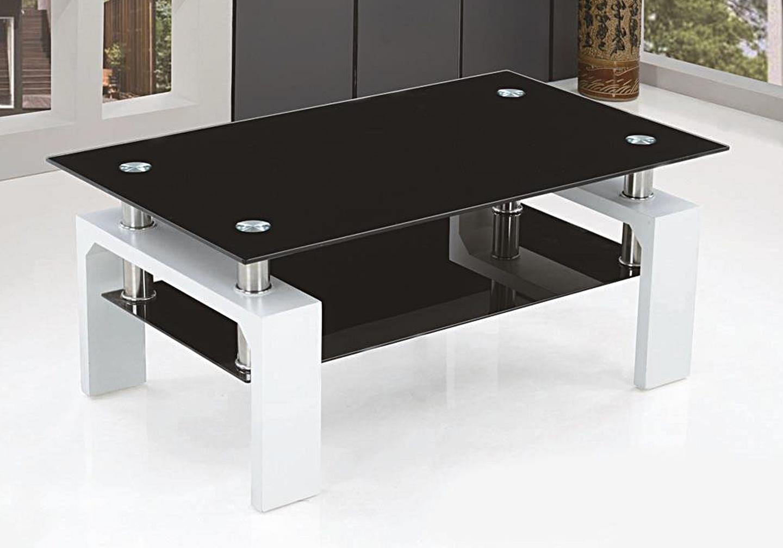 Table basse laqué blanc verre noir TOE-d