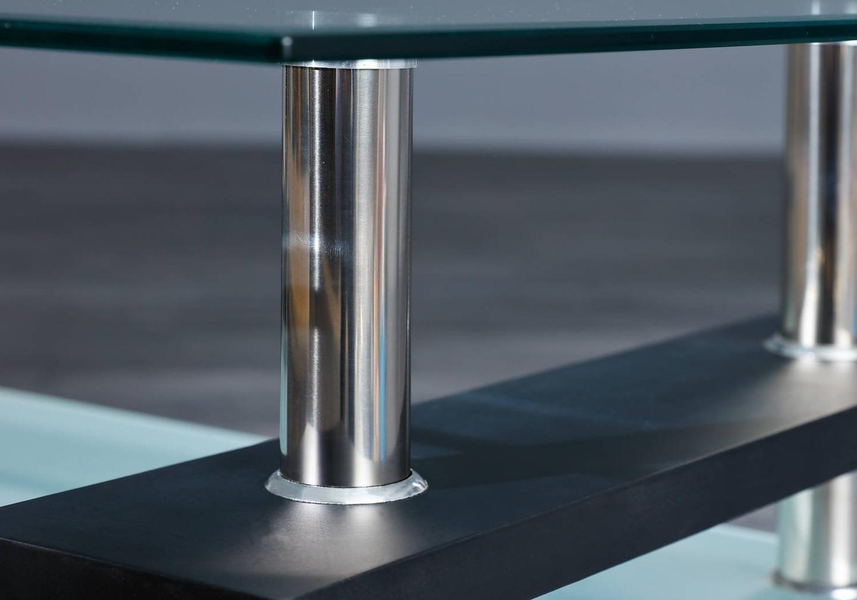 Table basse laqué noir verre trempé TOE-a1