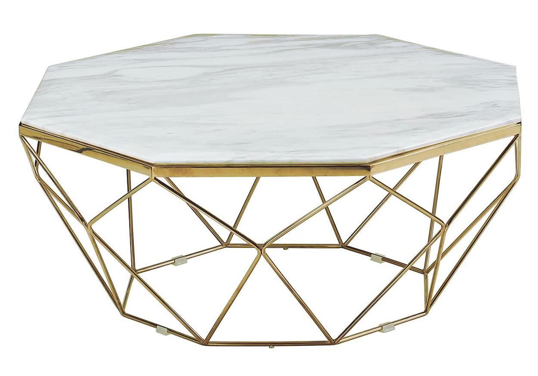 Table basse octogonale doré marbre LOÉ