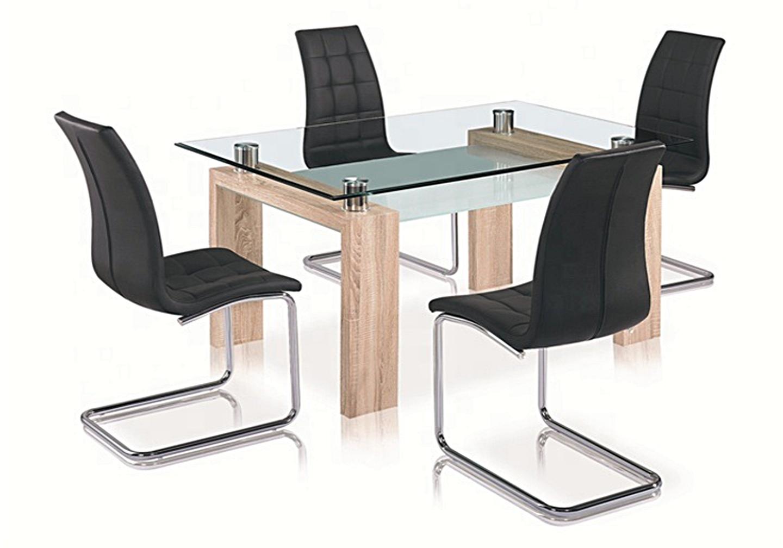 Table chêne verre 6 chaises noir TOE