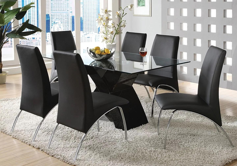 Table laqué noir 4 chaises noir ROY