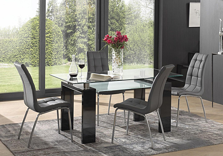 Table laqué noir 6 chaises gris TOE
