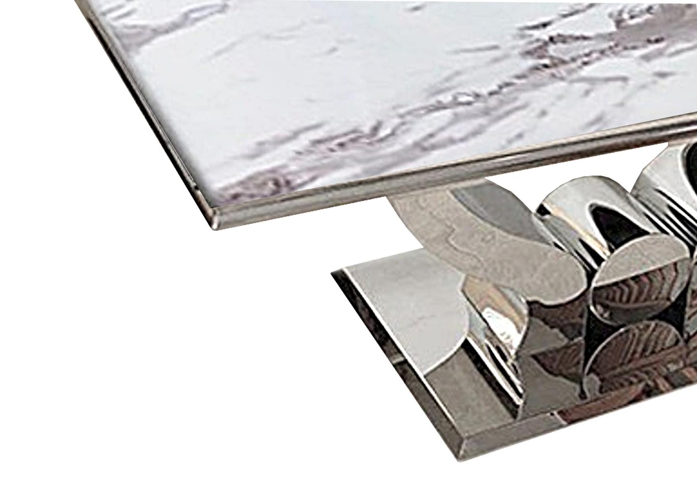Table manger chromé marbre blanc NEA.1