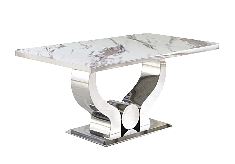 Table manger chromé marbre blanc NEA-5