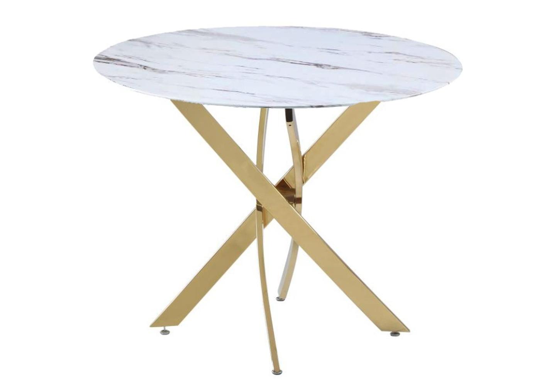 Table manger doré marbre blanc DESIGN