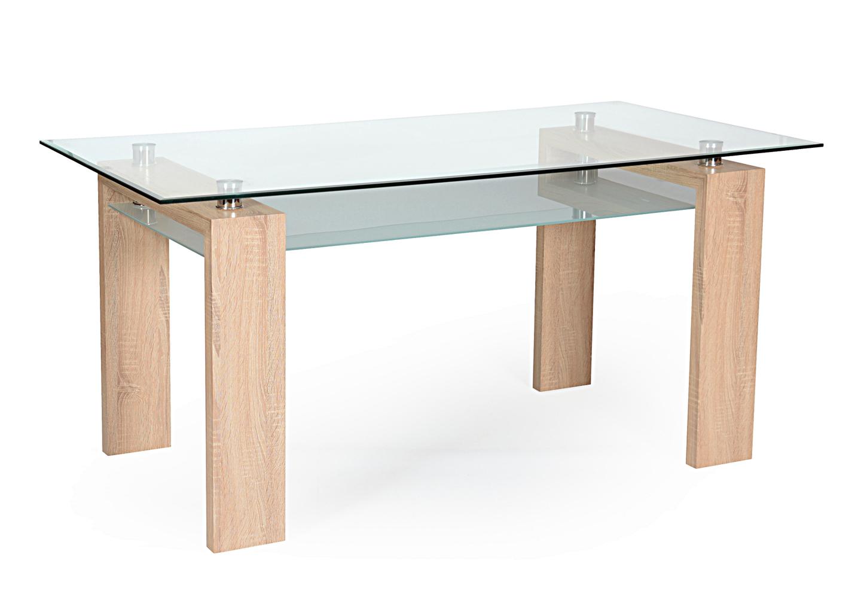 Table repas chêne verre trempé TOE.1