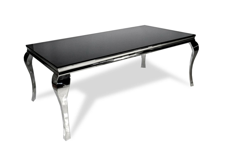 Table repas chromé verre noir NEO-XL
