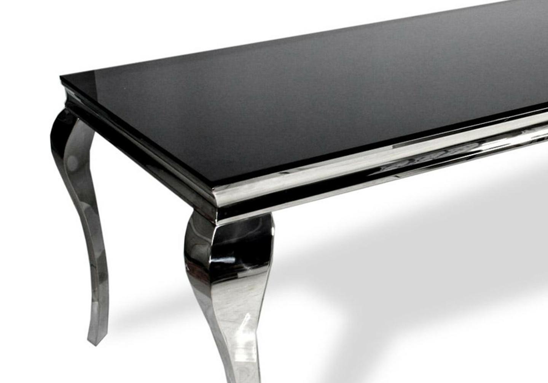 Table repas chromé verre noir NEO-XL-1