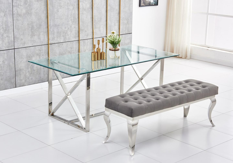 Table repas design chromé verre OREA