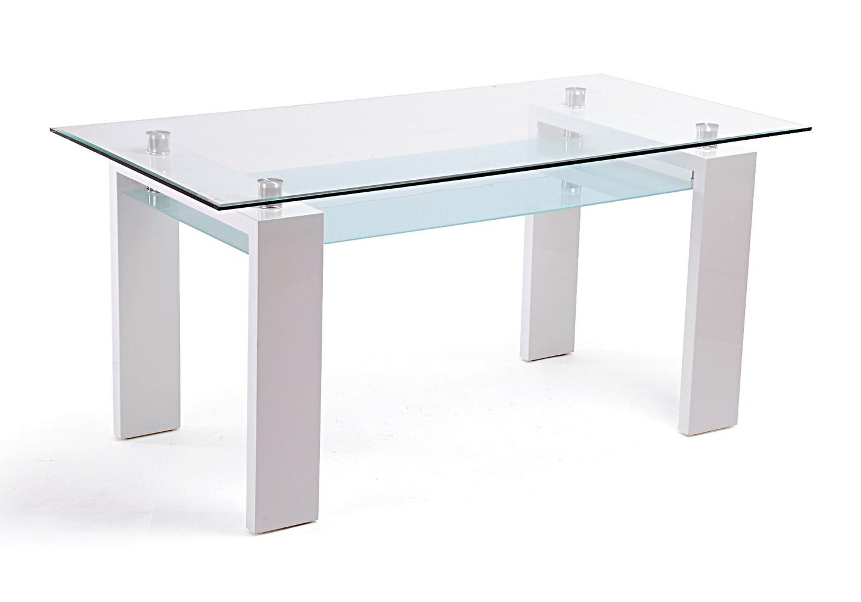 Table repas laqué blanc verre TOE