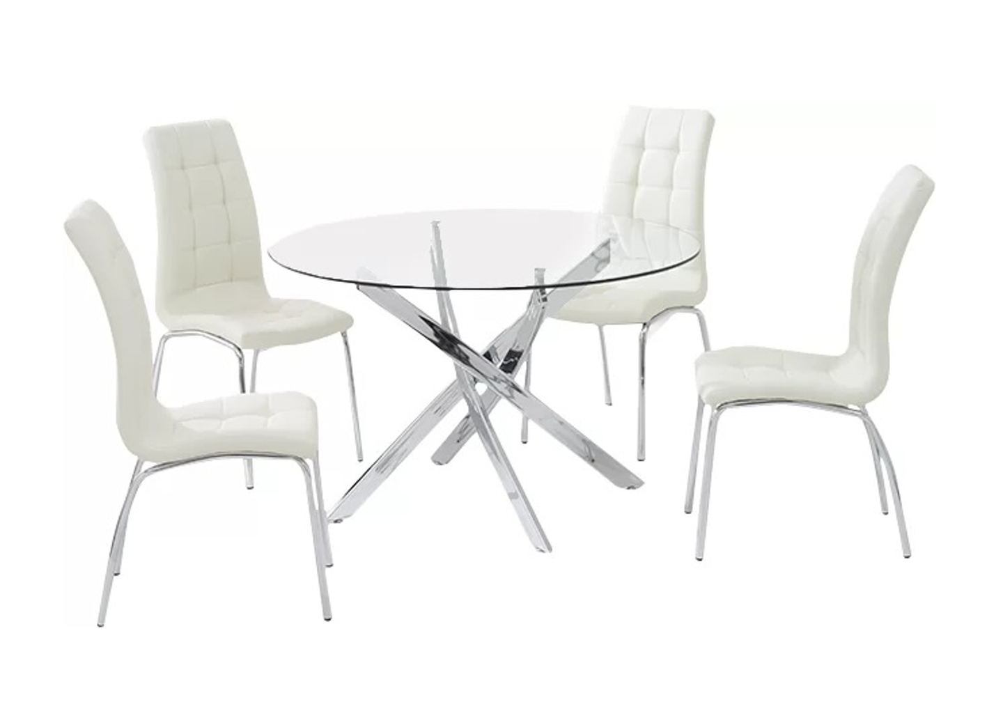Table ronde chromé 6 chaises blanc DESIGN.1