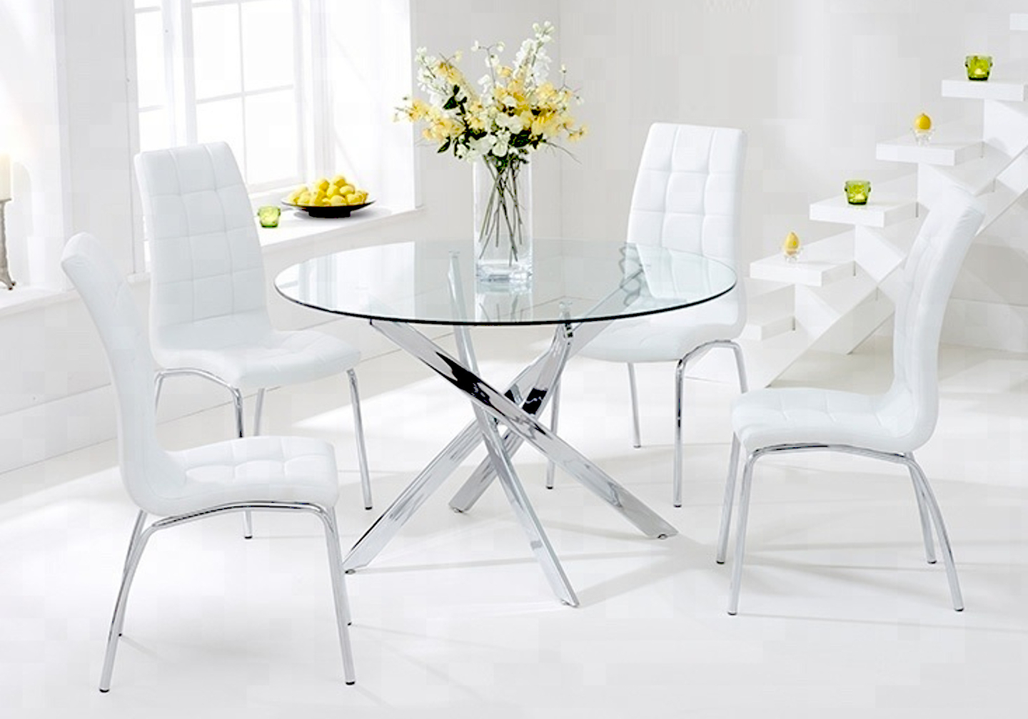 Table ronde chromé 6 chaises blanc DESIGN