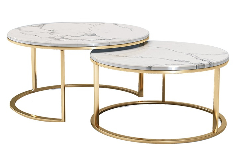 Tables gigognes doré marbre blanc OREA.1