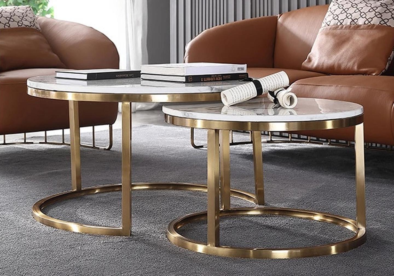 Tables gigognes doré marbre blanc OREA.2