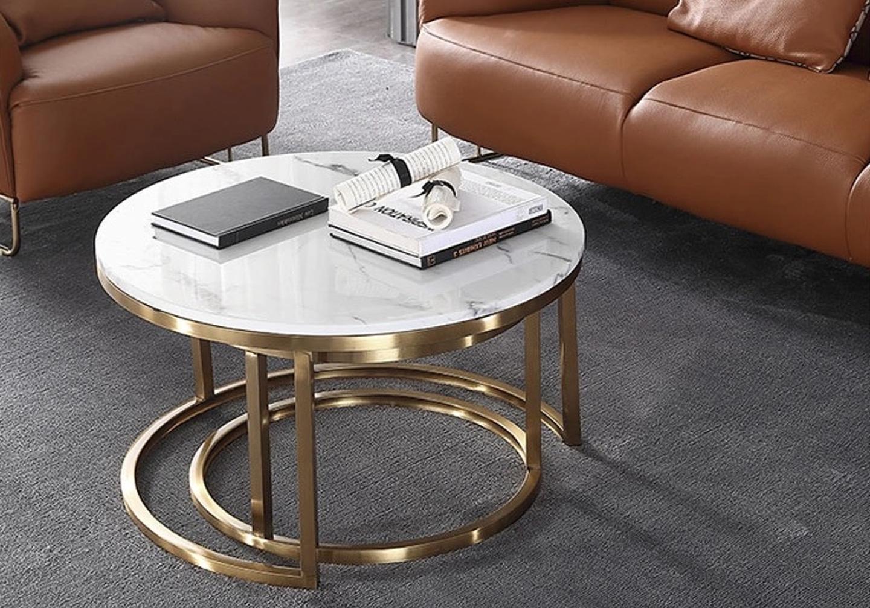 Tables gigognes doré marbre blanc OREA.3