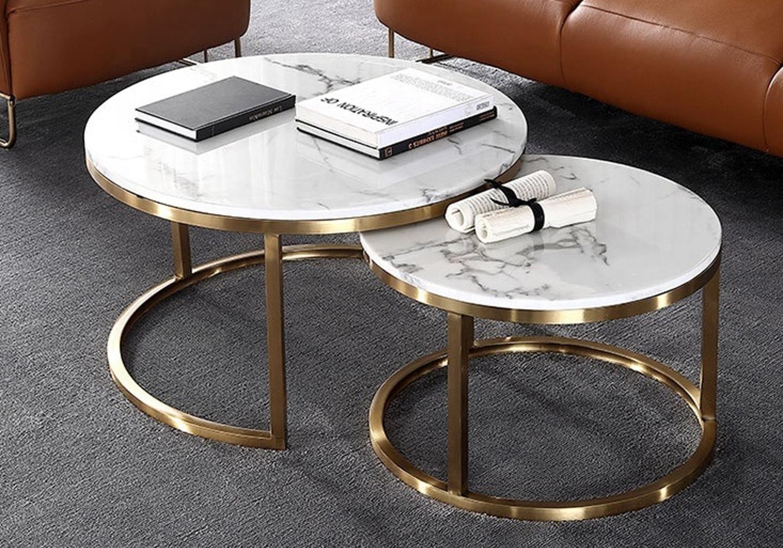Tables gigognes doré marbre blanc OREA.4