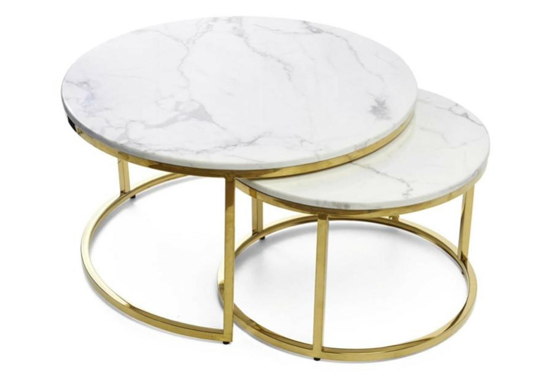 Tables gigognes doré marbre blanc OREA