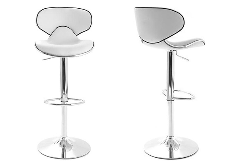 Tabourets bar design blanc LORIS.1