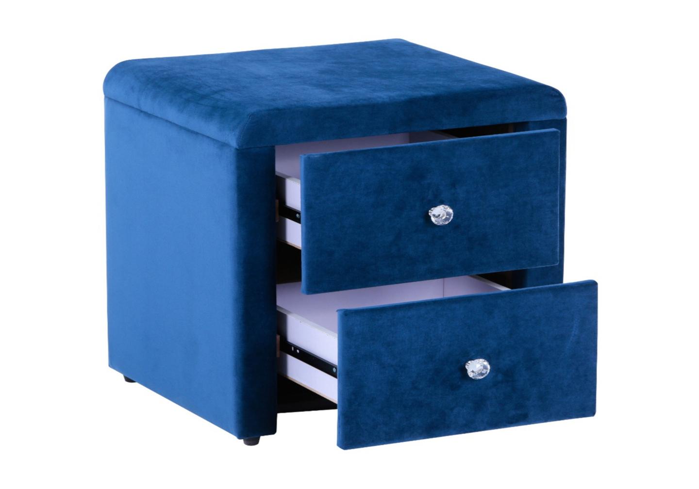 Table chevet velours bleu ANIS