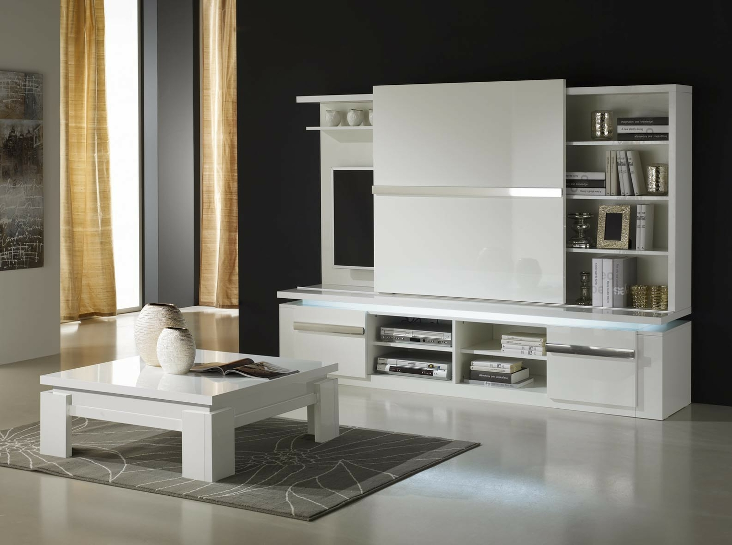 meuble tv mural design laqu blanc riva s jour mur tv living. Black Bedroom Furniture Sets. Home Design Ideas