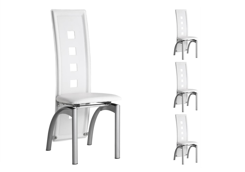 Lot de chaises métal simili cuir blanc LINE