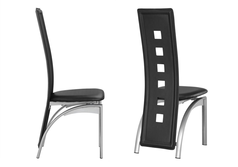 Lot de chaises métal simili cuir noir LINE.1