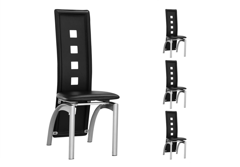 Lot de chaises métal simili cuir noir LINE