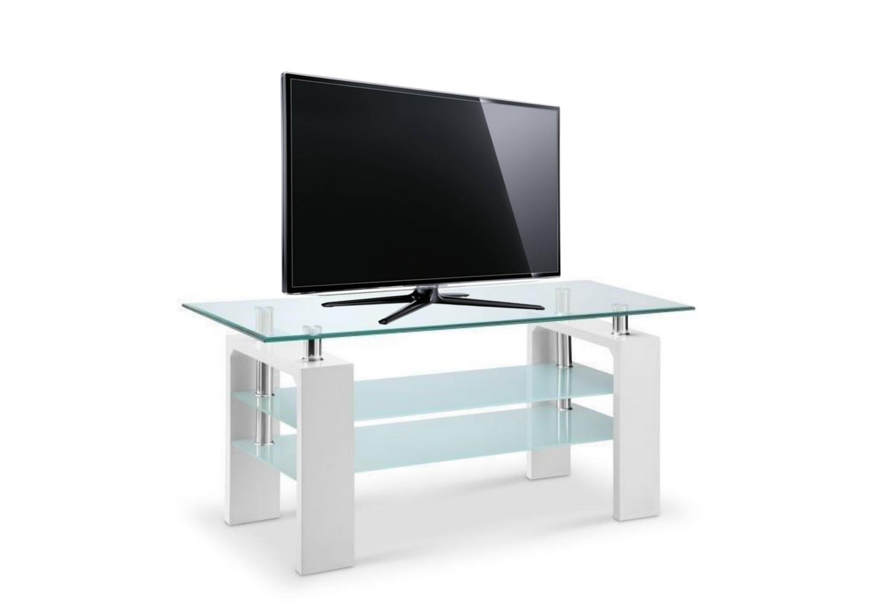 Meuble TV laqué blanc verre trempé TOE.1.1