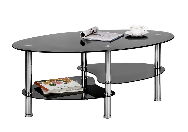 Table basse verre trempé noir TAO.2