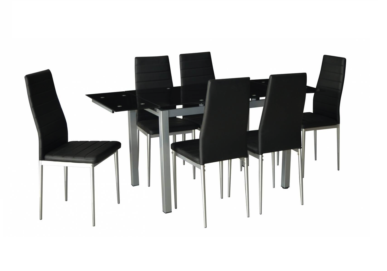Table verre extensible + 6 chaises noir FLY