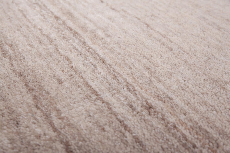 Tapis salon ethnique laine fait main rayé beige RAJASTHAN.1