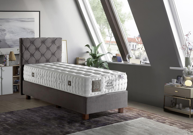 Lit coffre + tête de lit + matelas 90x190 ÉLITE POCKET-KARYA Taupe