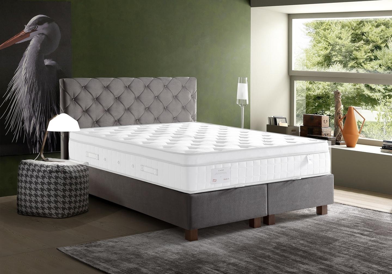 Lit coffre + tête de lit capitonnée 140x190 KARYA Taupe