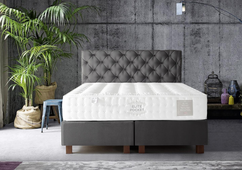 Lit coffre + tête de lit capitonnée 160x200 KARYA Gris