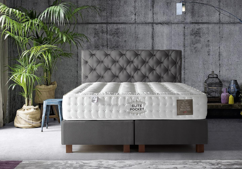 Lit coffre + tête de lit + matelas 160x200 ÉLITE POCKET-KARYA Gris