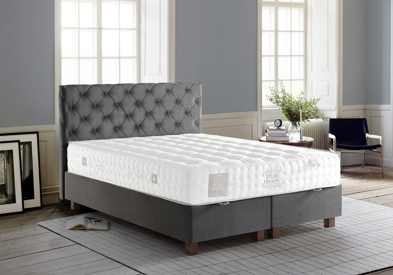 Lit coffre + tête de lit capitonnée 140x190 KARYA Gris