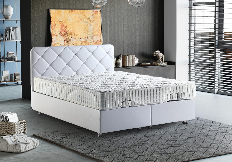 Lit coffre tête de lit capitonnée blanc siena