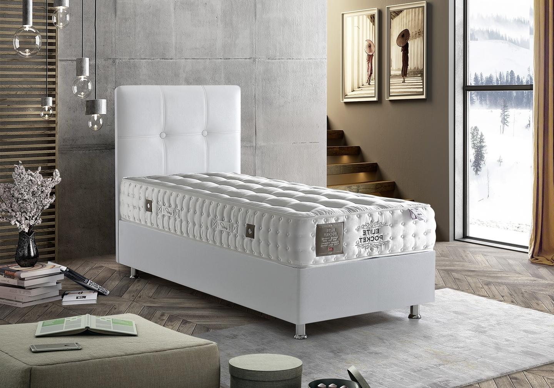 Lit coffre tête de lit capitonnée blanc BARI.1